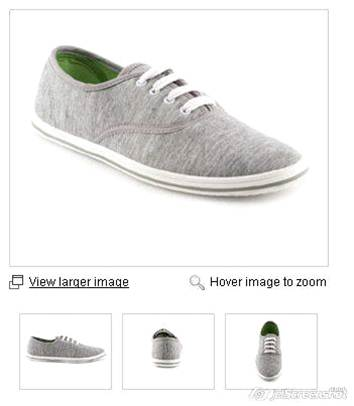 Images of shoes on product pages