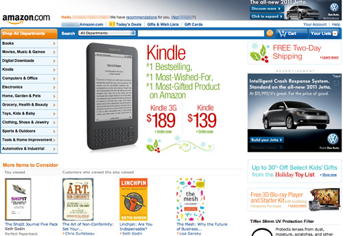 Amazon home page layout design