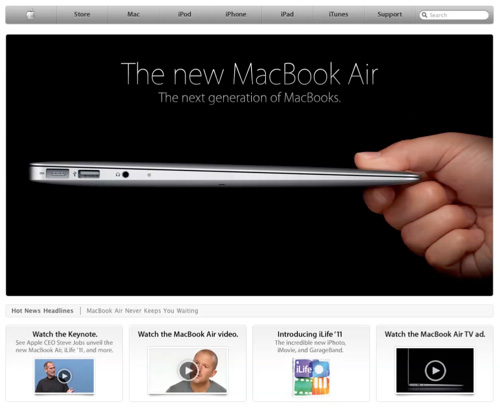 Apple site home page design 1