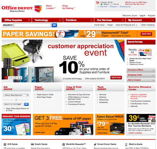 OfficeDepot home page layout design
