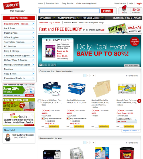 Staples home page layout design