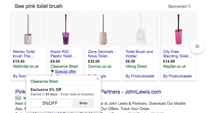 google shopping snippets